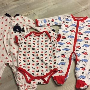 3 Lot 6-9 Months Anchor Whale Pajamas Onesie Red